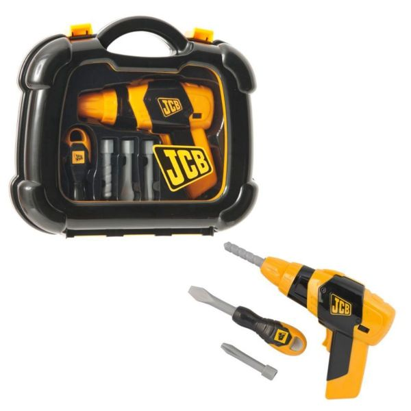 JCB Childrens Pretend Tool Case Includes Pretend Drill And Screwdriver Toy